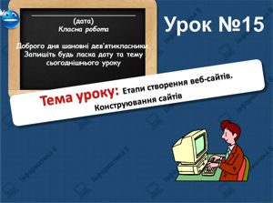 Етапи створення веб-сайтів. Конструювання сайтів. Інформатика 8 клас. Урок 15