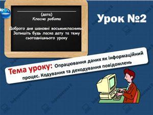 Опрацювання даних як інформаційний процес. Кодування та декодування повідомлень. Інформатика 8 клас