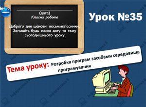 Розробка програм засобами середовища програмування. Інформатика 8 клас. Урок 35